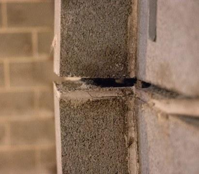 Bowing basement wall close up