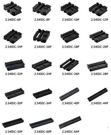 2.54mm Flat Cable IDC Female Socket Rectangular Receptacle
