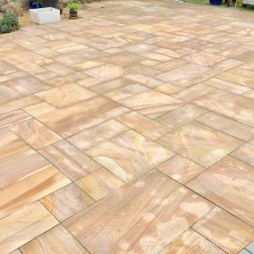 Indian stone patio before 6