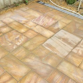 Indian stone patio before 7