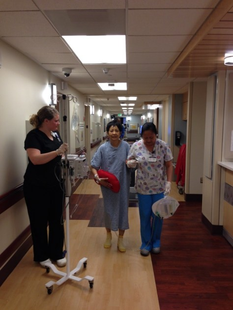 Mom, walking after her kidney transplant.