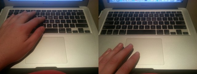 This is technically a Macbook air, but the keyboard and touchpad is the same across the entire product line.