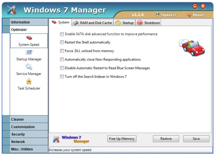 windows 7 manager ile optimize yapma