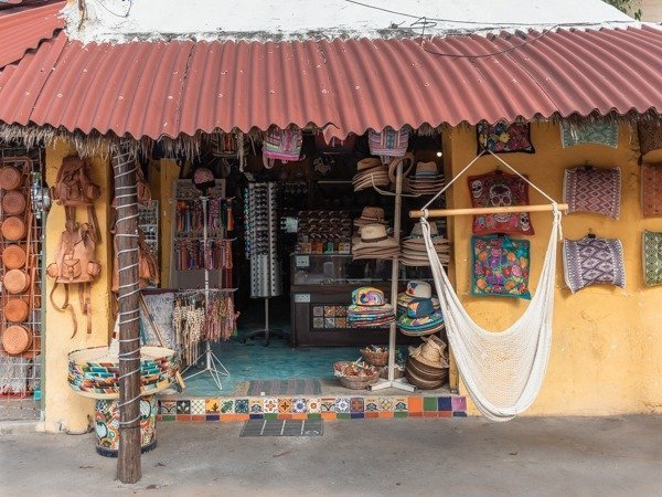 Beautiful souvenir shop in Tulum city.