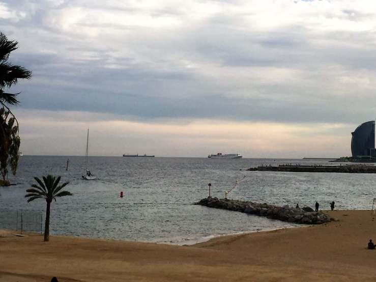 Beach scene in Barcelona