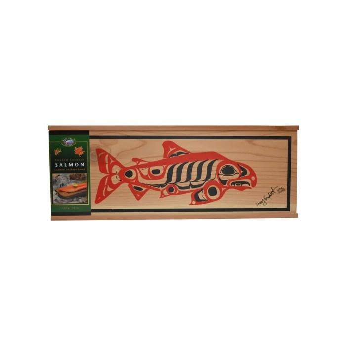 Wild Sockeye Salmon in a Decorative Native Design Cedar Box 16 oz