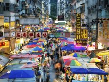 Busy market in Hong Kong