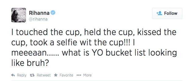 Rihanna Tweet-where to travel next-bucket list