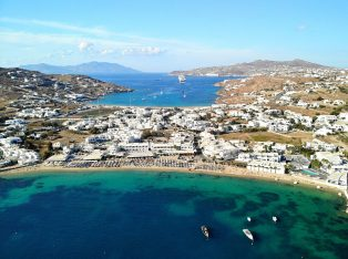 Ornos beach in Mykonos