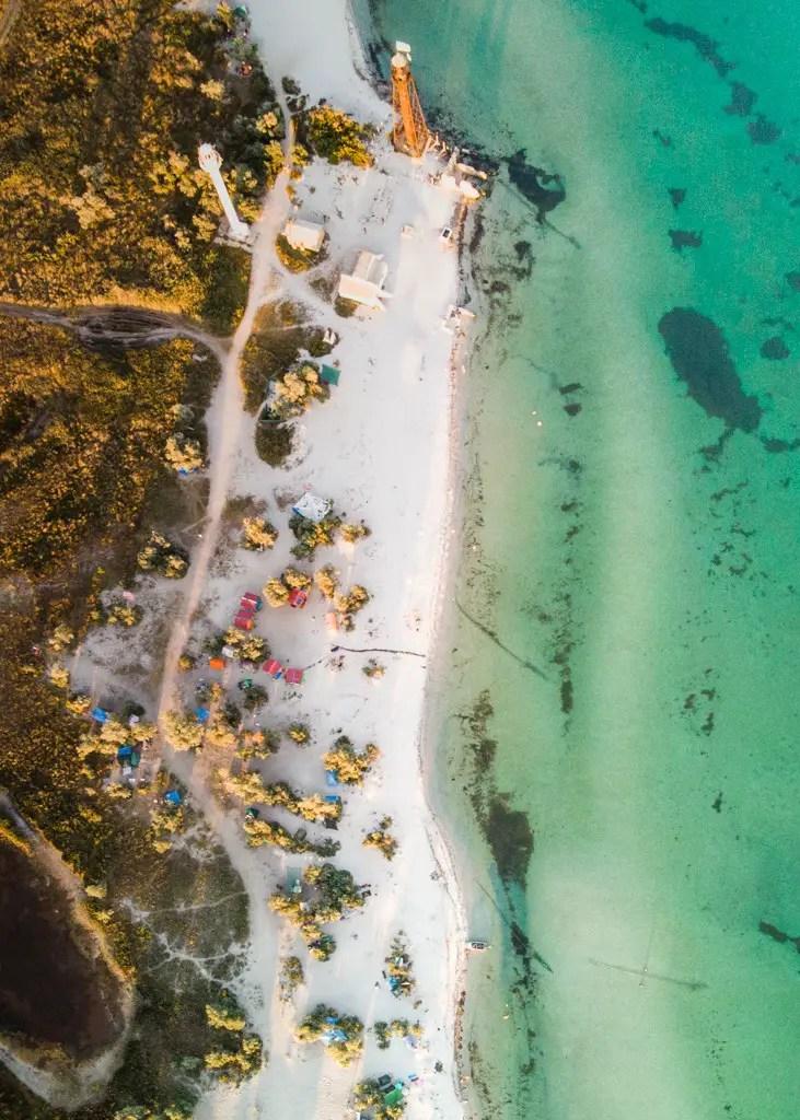 Dzharylhach island, white beach