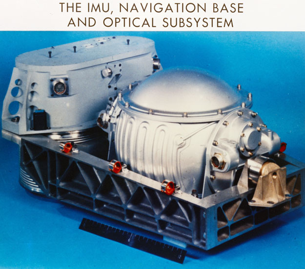 The Inertial measurement unit and the optical system (scanning telescope and sextant) mounted on the precision navigation base which maintains accurate angular orientation between the two subsystems. The optical system is used to align the inertial system and for navigation in earth oribt, lunar orbit, and in cislunar space. The inertial measurement unit is used as a primary attitude reference and is used for guidance purposes during all maneuvers and during reentry.