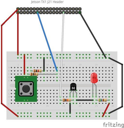 Jetson TX1 GPIO Example - Button and LED