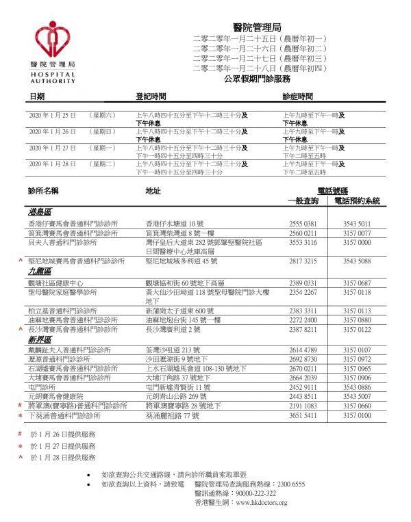 #香港西醫工會 Clinic 醫務所,#醫管局 #農曆新年 假期開診醫生名單