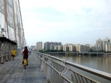 Riding an Ofo and Mobike Bikeshare Bike over the Liede Bridge in Guangzhou