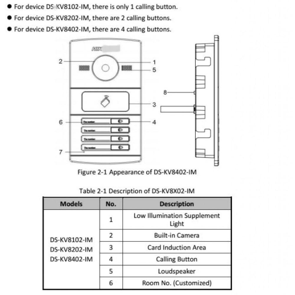 medium resolution of ds kv8102 im water proof metal villa door station hikvision intercom access control access control intercom