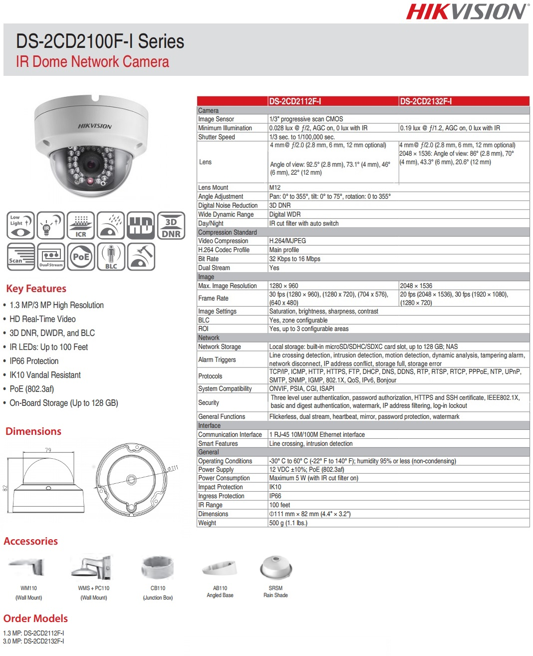 Hikvision DS-2CD2112F-I 1.3MP IP Dome Camera