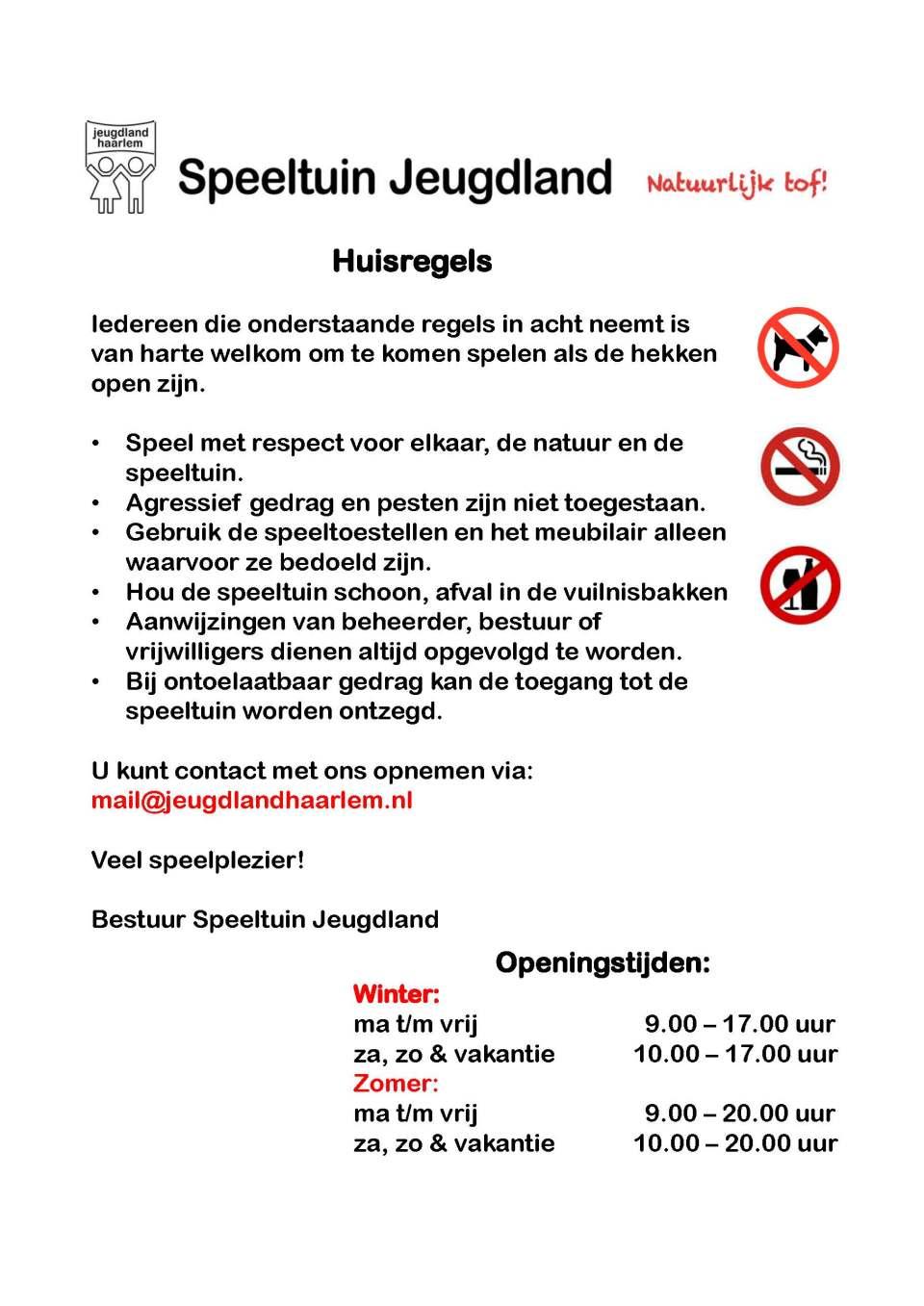 huisregels Jeugdland Haarlem