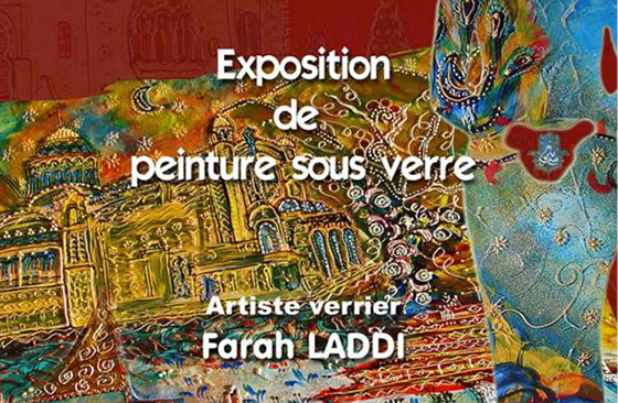 Peinture sous verre «Algerielle» de Farah Laddi
