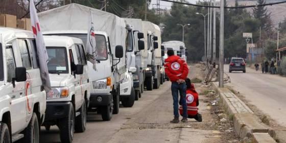 Entrée de l'aide humanitaire aux villes syriennes assiégées