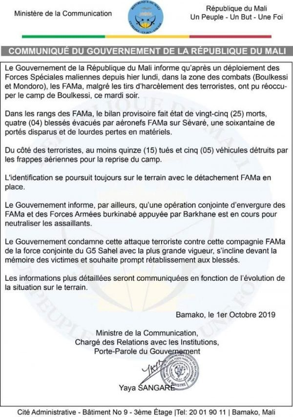Mali : au moins 25 soldat tués dans l'attaque de deux camps militaires dans le centre du pays