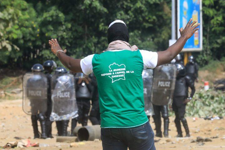Lors des manifestations contre une nouvelle candidature de Ouattara, le 13 août 2020 à Abidjan.