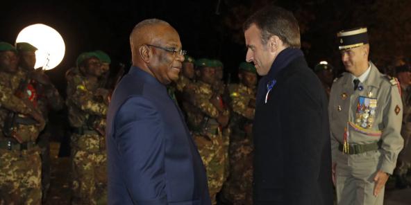 Ibrahim Boubacar Keïta et Emmanuel Macron, lors d'une cérémonie de commémoration de la Première guerre mondiale près de Reims, en France, le 6 novembre 2018.
