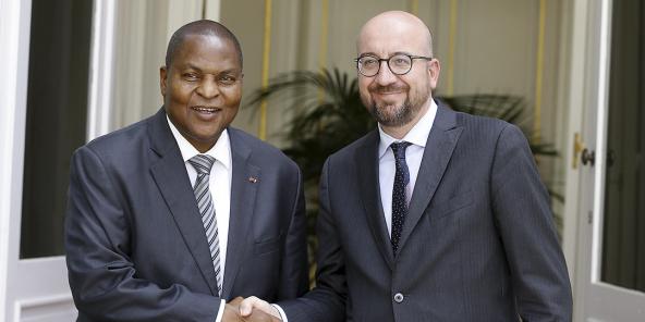 Faustin-Archange Touadéra et Charles Michel, en 2018.