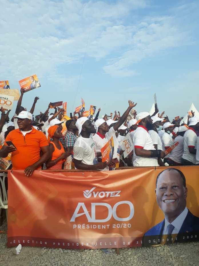 À Bouaké lors du lancement de la campagne d'Alassane Ouattara, le 16 octobre 2020.