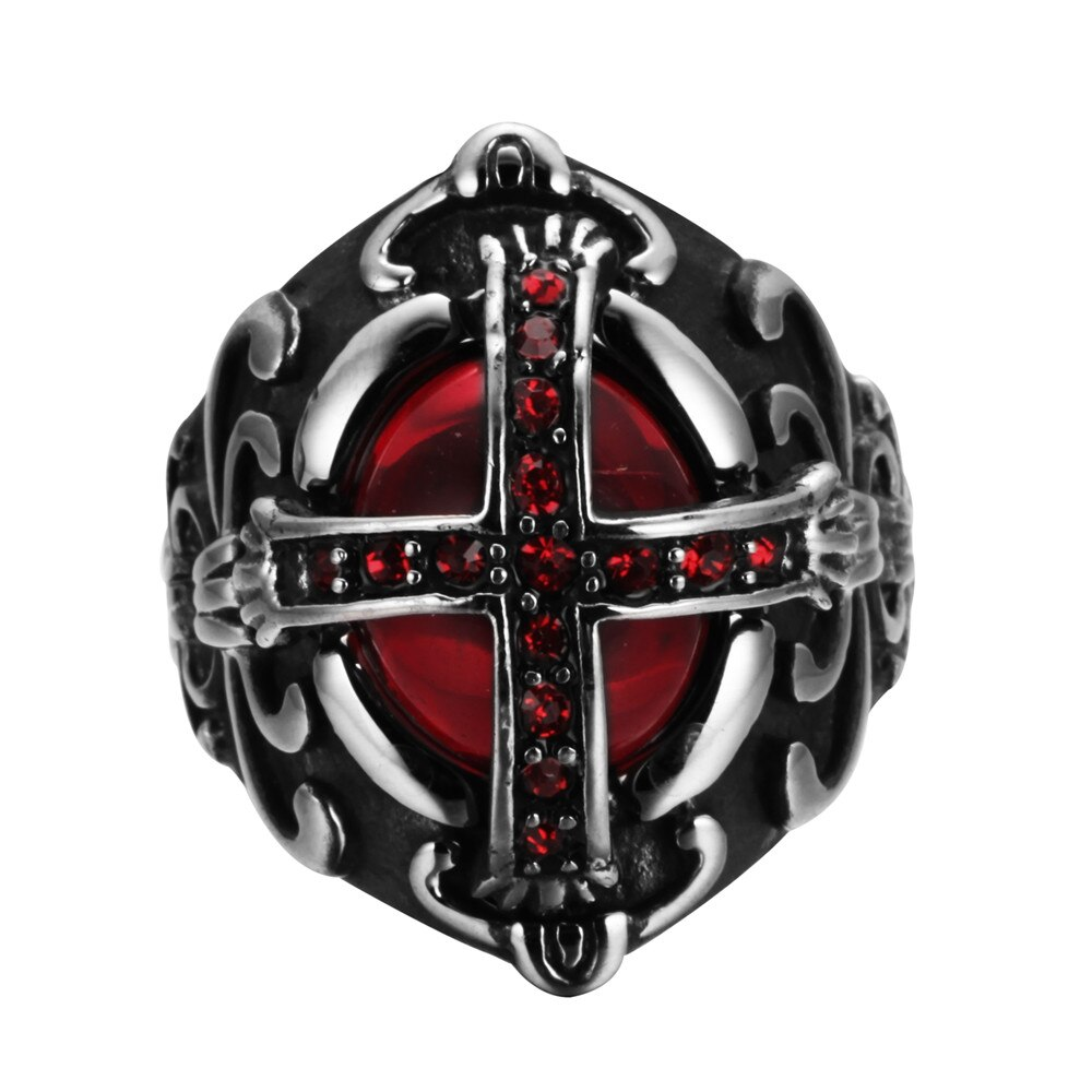 Gothic Cross Steel Ring