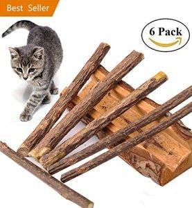 6 Matatabi Baton Chat – Catnip Jouet Herbe A Chat Dentifrice Chat Nettoyage des Dents Naturel Nourriture Mastique Bois Catnip pour Tous les Chats