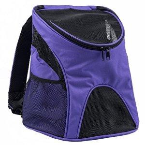 Maxmer Sac à Dos de Transport Chien Chat Nylon avec Fenêtre de Maille Léger Pratique pour Garder Animal Sécurisé Confortable – Violet