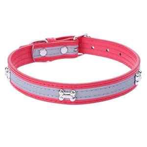 Everpert Durable Cuir PU Réglable Collier de Chien Chiot Animal Domestique Sangle Laisse Collier