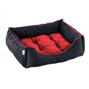 Panier pour chien et chat Siesta–Noir/Rouge, 40x 30x 18CM–Lavable à 40°C