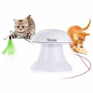 Dadypet Jouet pour Chat, Jouet Electronique Automatique, Jouet Chats Interactif 2 en 1 avec Plume et Point de Lumière Rouge – Rechargeable par USB ( Câble inclus )