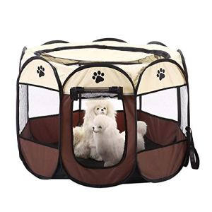 Keptfeet Portable Foldable Pet Dog Cat Puppy Soft Fabric 8-Side Playpen, Indoor/Outdoor Use Pet Kennel Cage