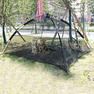 Hi Suyi Cage Tentes de Chat Grande Portable Sautables Outdoor Clôture Maison Animal Familier Chaud Nylon pour Patio Extérieur Noir