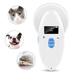 ZHONGXIN Scanner Puce pour Animaux domestiques, RFID 134.2Khz ISO FDX-B Lecteur de Puces Animaux, Analyseur d'animal de Poche Microchip, Pet ID Scanner, Portable, Affichage OLED avec rétro-éclairage