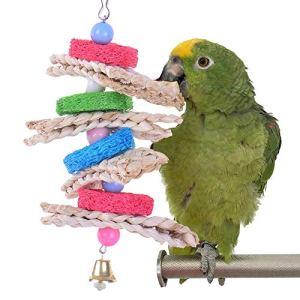 Oiseau à mâcher Jouets coloré Loofah Twist chaîne de Morsure Oiseaux Suspendus Animal de Compagnie à mâcher Accessoires Perle Pendentif