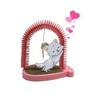 Ying-D Arche de toilettage pour Chat avec Tampon à griffer et Herbe à Chat Idéal pour Jouer et gratter Rose/Noir