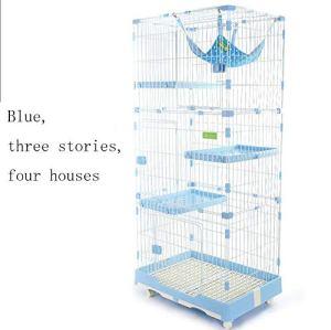 WENFF Cage à Chat De Trois étages Cage à Chat Très Grand Espace Libre pour Deux Chats à La Maison,Blue-threefloorsandfourhouses