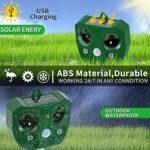 Kraumi Répulsif Solaire pour Chat à ultrasons avec Piles alimentées par énergie Solaire et détecteur de Mouvement Infrarouge 5 Niveaux d'alarme Flash