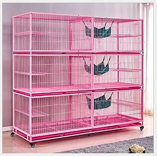 FTFDTMY Cage de Chat à Trois Couches, Cage d'affichage de Chat en Tube galvanisé, Cage d'élevage Solide et Durable, nid de Chat (Blanc/Rose),b