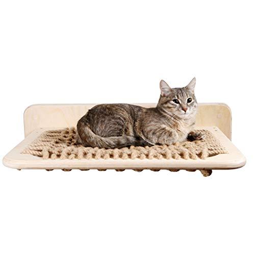 N/H Lit hamac de Chat fixé au Mur, lit de Salon de Chat de Corde de Chanvre en Bois Massif, Plate-Forme de Mur de Cadre d'escalade Pratique Durable pour Chaton de Chats