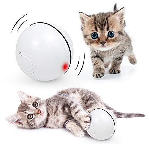 ANTOPM Jouet Interactif pour Chat, Rechargeable Interactif Balle pour Chat Rotative Automatique à 360 Degrés avec Lumière LED pour Chatons de Chaton Prenant et Amusant