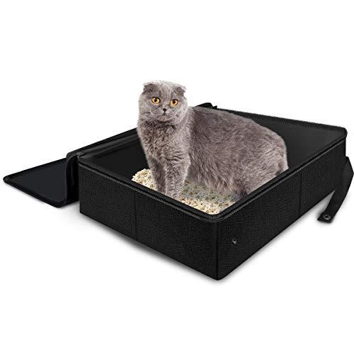 Bac à litière pour chat Adkwse – Pliable – Portable – Étanche – Avec couvercle – Pour l'intérieur et l'extérieur