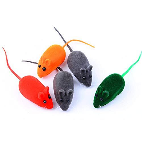 HNQH 5 pcs Little Mouse for Cat, Flocking Mouse Cat Toys Funny Vocal Rubber Mouse Petits Jouets interactifs pour Chats pour Tuer Le Temps et Rester en Forme