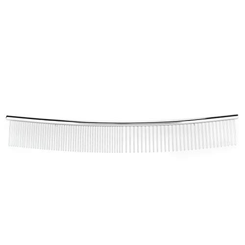 Peigne à noeud d'ouverture pour animaux de compagnie, mi-fin et mi-dense, aide à la circulation sanguine pour les animaux de compagnie, brosse à épiler(Half thin and half dense, curved comb)
