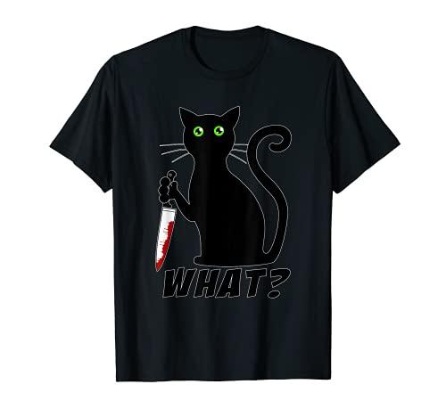Chat quoi ? Black Cat meurtrier avec un couteau Halloween T-Shirt