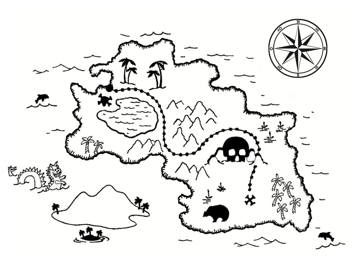 Coloriage carte au trésor : dessins à imprimer gratuitement