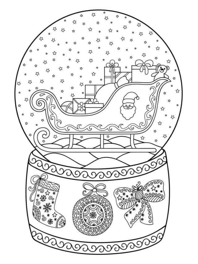 Coloriage boule à neige : 30 dessins à imprimer gratuitement